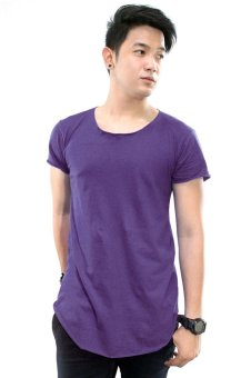 BLKSHP Scoop Neck Long Tee with Curved Hem and Raw Edges (Purple) Price Philippines