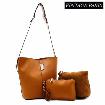 Harga Vintage Paris Luna Cross Body Sling Bag (Brown)