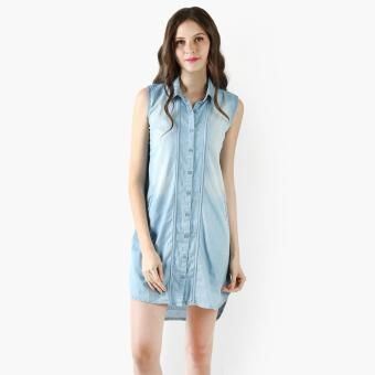 Harga SM Woman Chambray Bleached Shirt Dress (Denim)