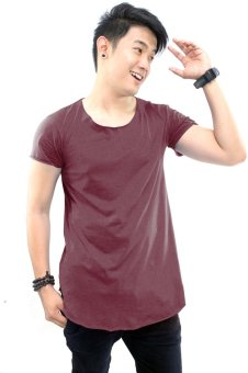 BLKSHP Scoop Neck Long Tee with Curved Hem and Raw Edges (Maroon) Price Philippines