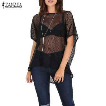 ZANZEA S-4XL Women Loose Tops See Through Batwing Blouse Tee T-Shirt Clubwear (Mesh Black) - intl Price Philippines