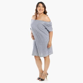 Harga SM Woman Plus Striped Shift Dress (Blue)