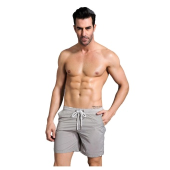 Harga Mens Men's Jersey Nylon Lounge Shorts (Grey) - intl