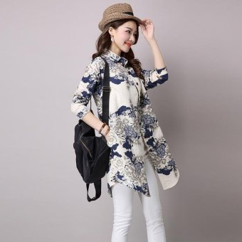 Autumn new Korean long-sleeved shirt loose cotton blouses - intl Price Philippines