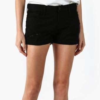 Harga SM Woman Distressed Denim Shorts (Black)