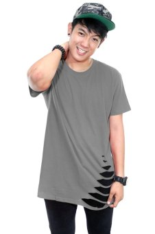 Harga BLKSHP Oversized Softstyle Longline Tee with Distress Hem (Charcoal)