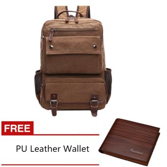 Men's Multifunctional Canvas Backpack with Fashion PU Leather Wallet (Coffee) - INTL Price Philippines