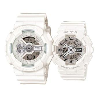 Harga Casio G-Shock GA-110BC-7A and Baby-G Couple BA-110-7A3 Resin Strap Watch White