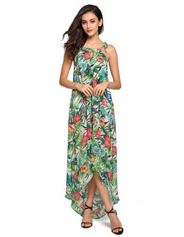 Harga Ladies Irregular Hem Floral Print Maxi Long Dress Beach Chiffon Dress