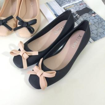 Fashion Women's OL Lady's Bow Ballerina Frosted Plastic Waterproof Flats Slippers Casual Shoes ( Black) - intl Price Philippines