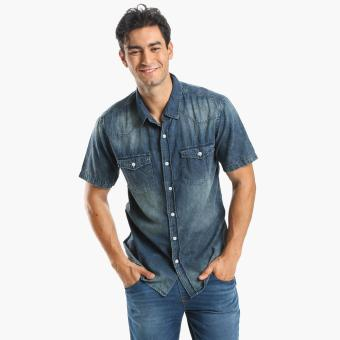 Harga Code Blue Mens Chambray Casual Shirt (Light blue)