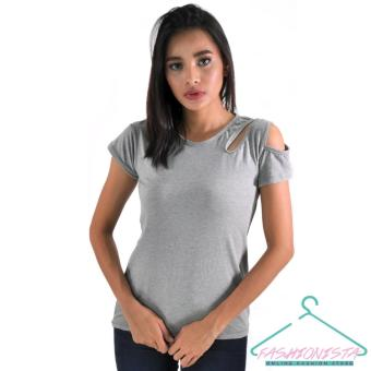 FASHIONISTA Women's Fashionable Plain Blouse (Grey) Price Philippines