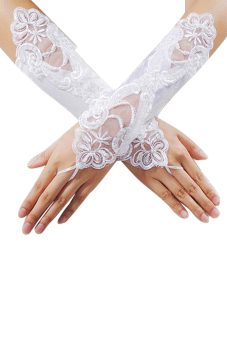 Harga Sanwood Bride Wedding Dress Fingerless Pearl Lace Satin Gloves White