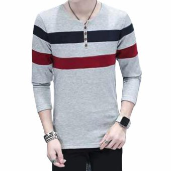 Fashionista HQ Fashion Two Color Two Striped Grey Sweater (Black/Maroon) Price Philippines