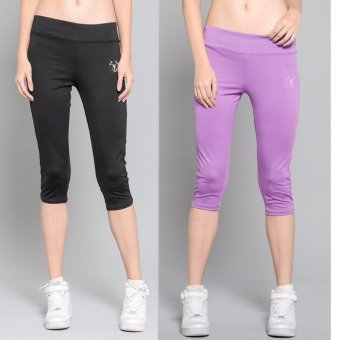 Harga BUY 1 TAKE 1 Outperformer Casual Capri Pants with 3D Extra Stretch and Dry Max Technology (Ebony and Lively Lilac)
