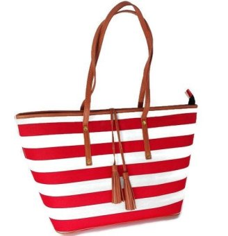 Weekender Tote Bag (Nautical Red Stripes) Price Philippines