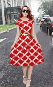 Harga 901 Korean Diamond Midi Dress Red