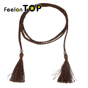Harga Feelontop Fashion Braided Rope Chain Waist Belt with Tassel for Ladies - Intl