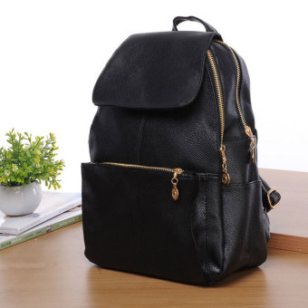 Harga YingWei Womens New Fashion PU Leather Shoulder Bag Backpacks Simple Style Black
