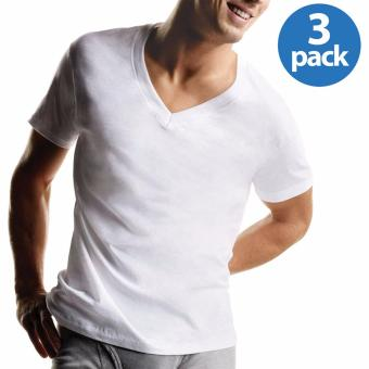 Harga Hanes Premium Series Tag-Free ComfortSoft V-Neck T-Shirt Undershirt Original Fit 100% Cotton SET OF 3