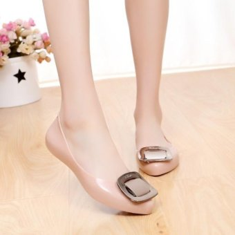 Women's Summer Rubber Flats Slippers Jelly Lady's Point Toe Ballerina OL Casual Shoes D148 Beige - intl Price Philippines