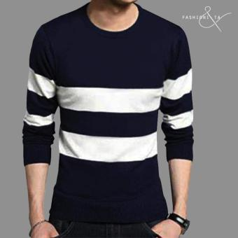 Fashionista HQ Fashion Two-Striped Sweater (Navy Blue/White) Price Philippines