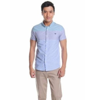 Harga Mens Slim Fit Combi Shirt (Blue)