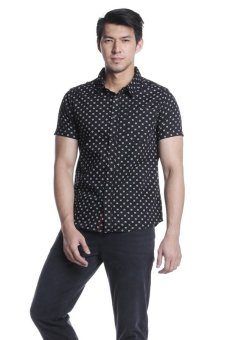 Harga Bobson Men's Printed Short Sleeves Shirt (Caviar)