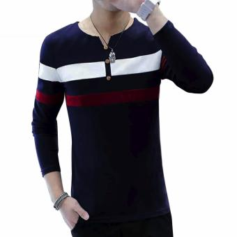 Fashionista HQ Fashion Two Color Two Striped Navy Blue Sweater (White/Maroon) Price Philippines