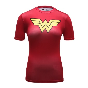 Harga Women's Compression Fitness Sport T-Shirt,Wonder Woman Short-sleeve