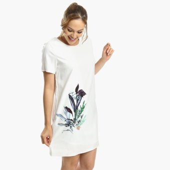 Harga SM Woman Prima Botanical Shift Dress (White)