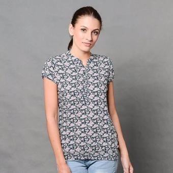 Harga Crissa Short Sleeves Printed Rayon Woven Blouse with Smocked Hem CLT32-738 (Navy#2)