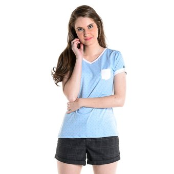 PENSHOPPE Printed V-Neck Tee (Powder Blue) Price Philippines
