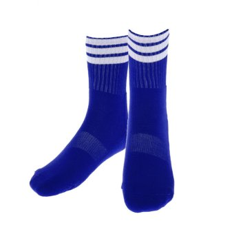 Harga BolehDeals Stripe Sports Running Football Soccer Elasticity Short Socks Blue