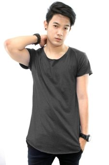 BLKSHP Scoop Neck Long Tee with Curved Hem and Raw Edges (Black Heather) Price Philippines