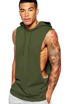 BLKSHP Xtreme Dropped Armholes Sleeveless with Hood and Raw Edges in Military Green Price Philippines