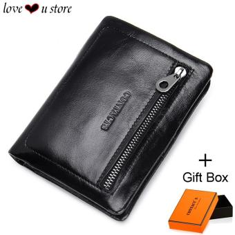 Harga Loveu Trifold Leather Wallet Mens Wallet Best Valentine Lover Gift Birthday Gift Soft Cow Leather Wallets ID Credit Card Holder Clutch Zipper Coin Purse Wallet - intl