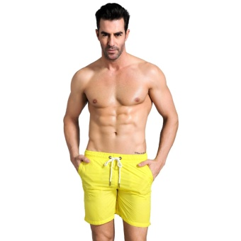 Harga Mens Men's Jersey Nylon Lounge Shorts (Yellow) - intl