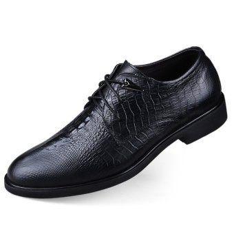 Harga PINSV Genuine Leather Formal Shoes Oxfords Business Shoes Big Size 36-46 (Black) - Intl