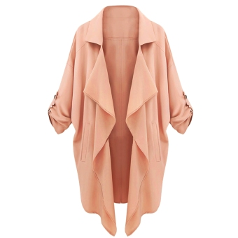 Harga Fashion Women Lapel Chiffon Asymmetrical Hem Jacket Trench Long Coat