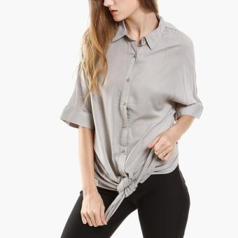 Harga SM Woman Tie-Front Blouse (Gray)