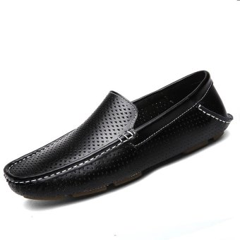 Harga PINSV Genuine Leather Men's Flats Shoes Breathable Casual Loafers (Black)