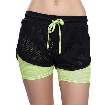 Harga Women Soprt Shorts Quick dry Breathable Beach Skinny Short Hollow out Running Fitness Jogging Short Green