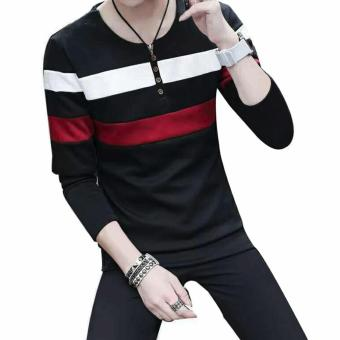 Fashionista HQ Fashion Two Color Two Striped Black Sweater (White/Maroon) Price Philippines