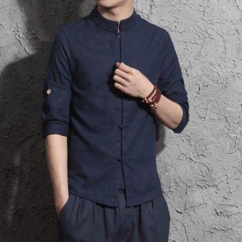 Harga Men's Casual Shirt Chinese Style Simple Fashion Short Sleeve Linen Tops(Navy Blue) - intl