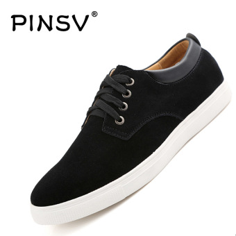 Harga PINSV Leather Men's Casual Shoes Fashion Sneakers Plus Size 38-49 (Black) - intl
