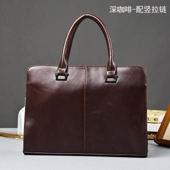 New Fashion Men Shoulder Casual Laptop Cross Body Bag Business Document Vintage Coffee Briefcase - intl Price Philippines