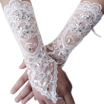 Harga The Bride Flowers Diamond Wedding Long Gloves