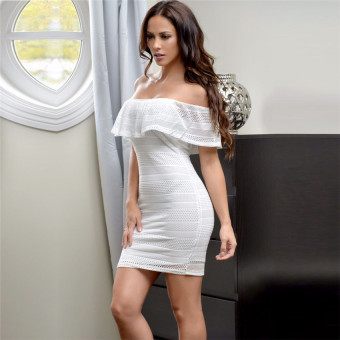 Harga High Quality Fashion Women Flouncing Hem Slim Hip S3015 Solid Color Sexy Lace Collar Dress (White)