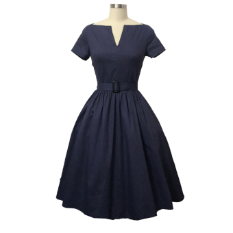 Harga Retro Style V-neck Dress Big Hem With Belt (Dark Blue) - intl